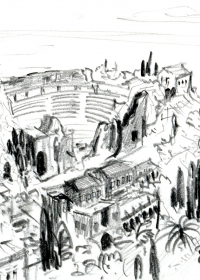 Taormina Amphitheater. Bleistift. 1987