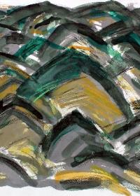 huegelland-rhythmisch-aquarell-farbstifte-50-x-64-cm-1991