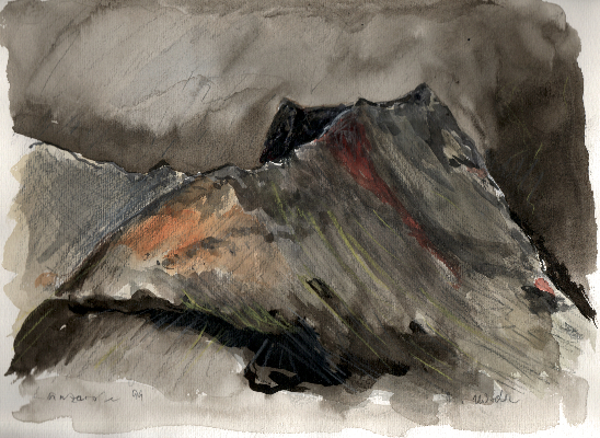 vulkankegel-auf-lanzarote-auarell-1999