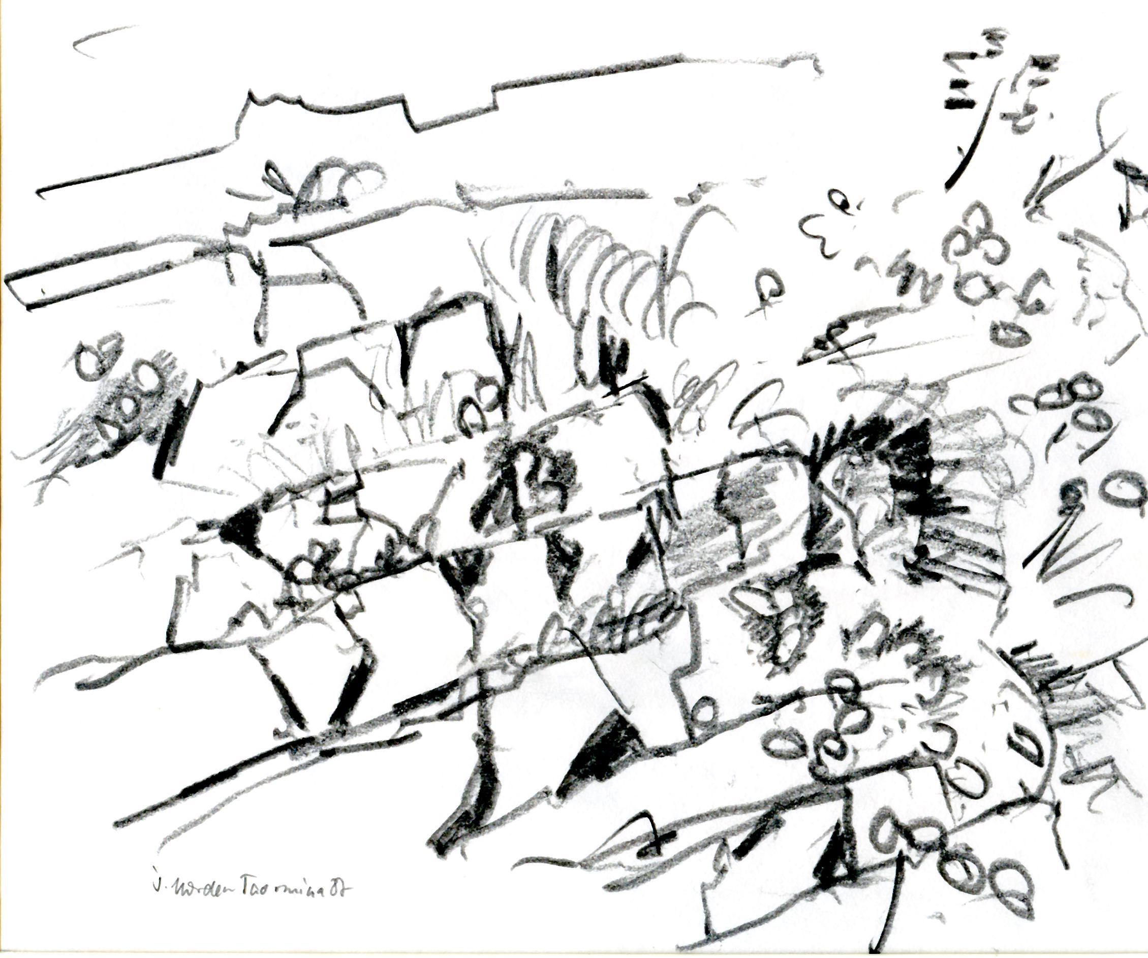 Am Hang über Taormina. Bleistift. 1987
