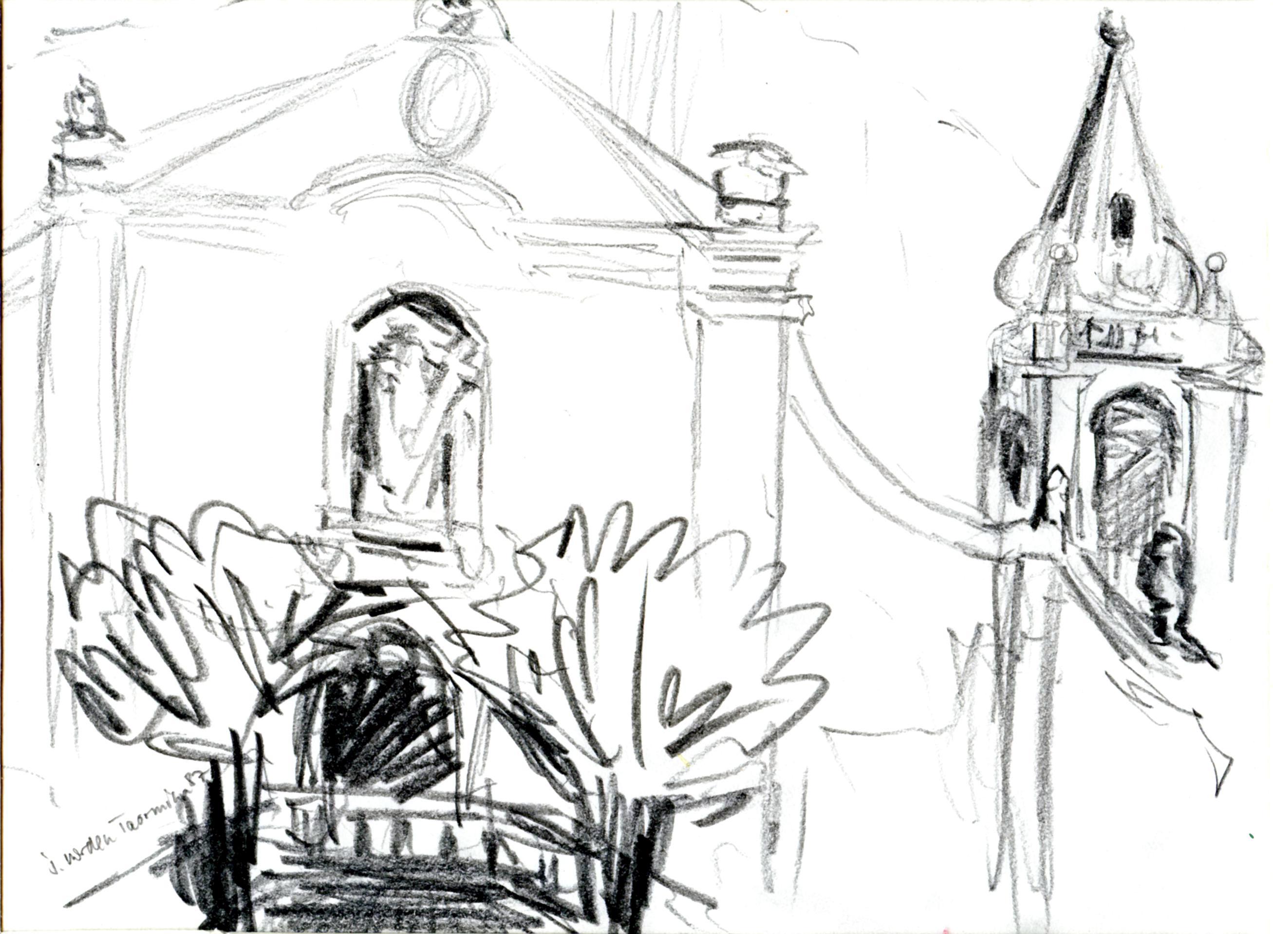 Taormina Kirche. Bleistift. 1987