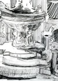 Taormina Brunnen. Bleistift. 1987